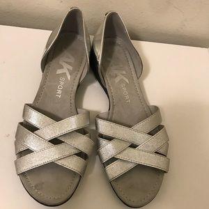 Anne Klein patent leather metallic sandals